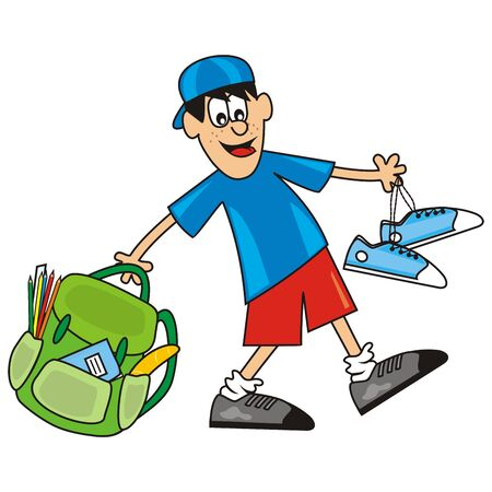 Student with bag and sneakers, vector illustration. Illustration