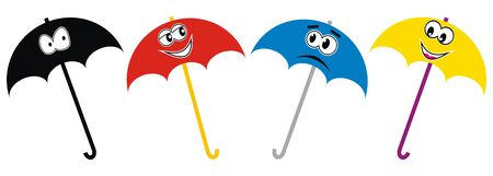 Four umbrellas in a row. Four colors parasols with eyes and mouth