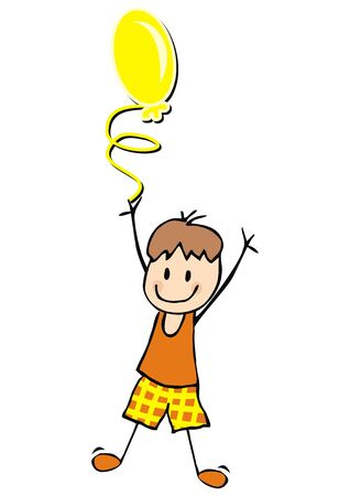 Boy and yellow balloon, funny vector illustration Vettoriali