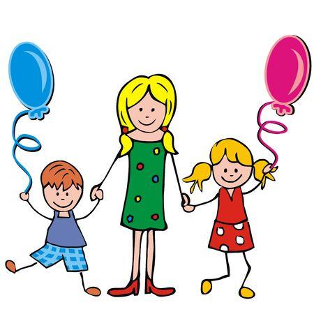 Madre, niño y niña con globos, ilustración vectorial