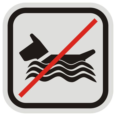 Bathing dogs do not allowed, vector icon at black and gray frame Illusztráció
