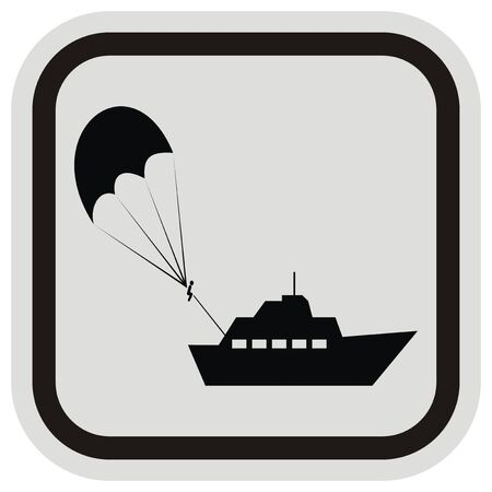 parasailing, black silhouette of parachute and boat at gray and black frame, vector icon Illustration