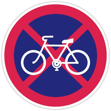 No bicycle parking, traffic sign, vector icon. White silhouette of cycle on blue background. Red frame with white and gray contour.