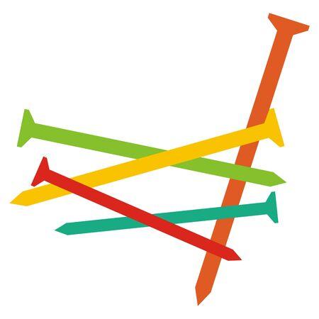Conjunto de clavos, icono de vector de color sobre fondo blanco.