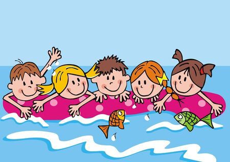 Group of girls and boys on lounger at sea, funny vector illustration. Children are swimming on deck chair at sea.