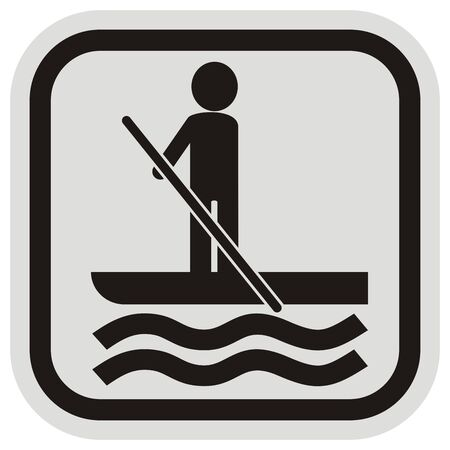 paddle board, black silhouette of man with paddle