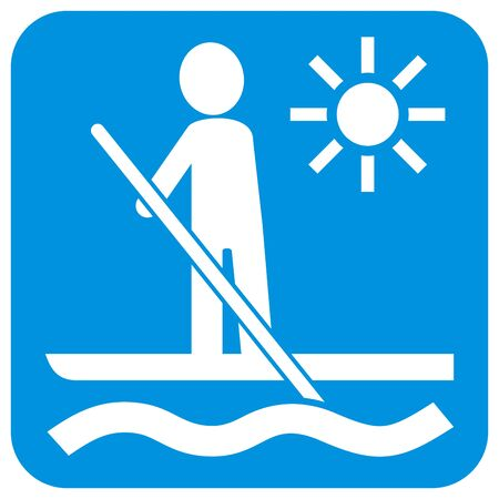 paddle board, vector icon at blue frame, white silhouette of man with paddle