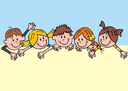 Vector Illustration Keywords: Vector Illustration Keywords: Group of girls and boys, creative picture. Illusztráció