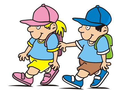 kids and schoolbag, girl and boy go to school, vector icon, back to school Standard-Bild - 128435632