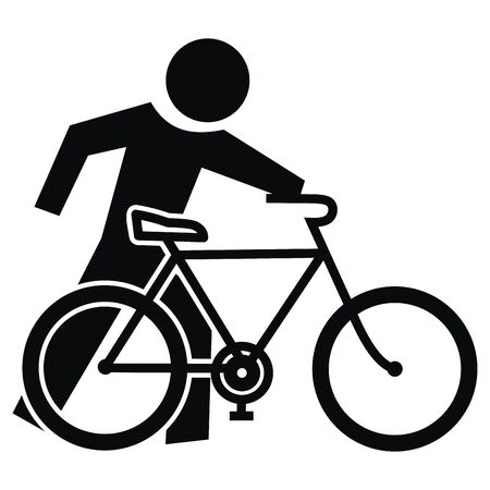 Cyclist, Get Off The Bike, go to the bike, vector icon, eps Black silhouette of cyclist.