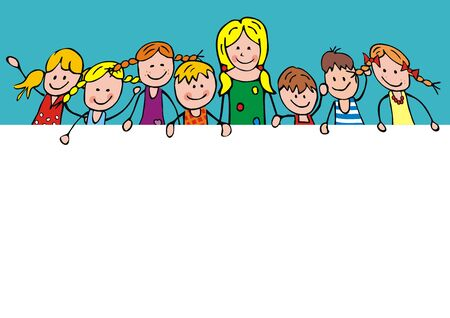 Vector Illustration Keywords: Teacher and group of happy children, vector illustration