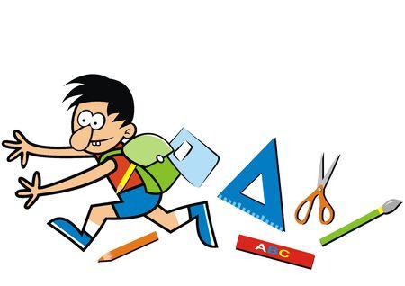 Vector Illustration Keywords: Running boy, school supplies, funny vector illustration