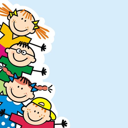 Banner de niños pequeños felices, fondo azul, ilustración vectorial divertida