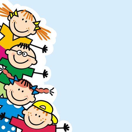 Banner di bambini piccoli felici, sfondo blu, illustrazione vettoriale divertente