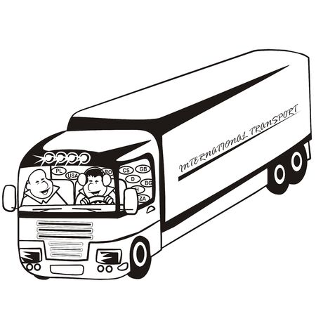 Lorry men at cabin, silhouette, vector icon