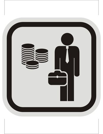 Businessman, bank, black vector icon on gray and black frame Banco de Imagens - 129294740