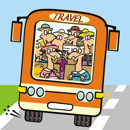 Orange bus with seniors. Front view. Vector icon. Funny illustration. Standard-Bild - 129294750