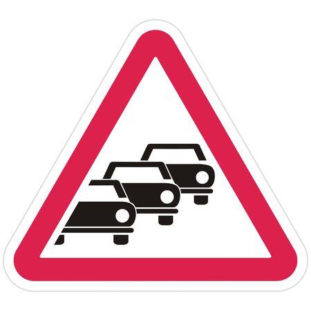 Road sign. Vector Illustration Keywords: Car column in red triangular frame. Group Of Black Silhouette Of Cars. Vektorové ilustrace