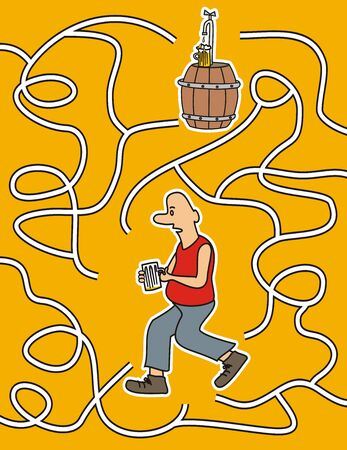 Man and beer labyrinth board game, vector illustration. Man looking for the right way to the bar.