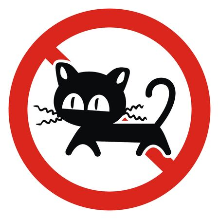 cat - no entry, black silhouette sign on red circle frame, funny vector icon Standard-Bild - 130015701