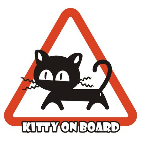 Black kitty on board, triangle icon, vector illustration. Cat at car.