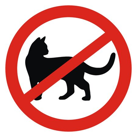 Vector Illustration Keywords: No entry and walking of cats. Standard-Bild - 130015708