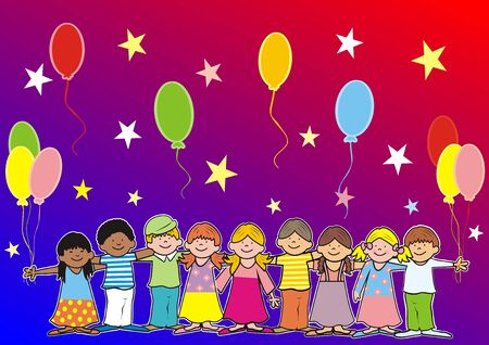 Happy kids and balloons, banner, multicolored background  イラスト・ベクター素材