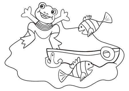 Frog, fishes and boat, coloring book for children, vector illustration. Smile creative picture for painting.