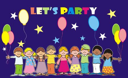 Lets party, vector illustration on dark blue background