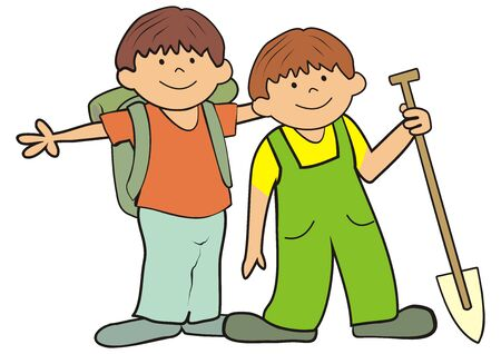 Two little boys with bag and spade on a trip. Vector Illustration Keywords: Иллюстрация