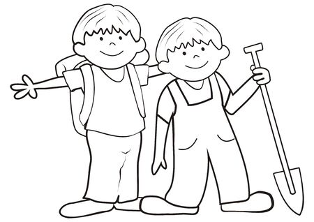 Two little boys with bag and spade on a trip. Vector Illustration Keywords: Coloring book for children.