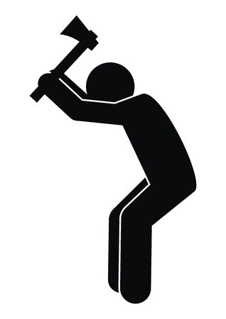 Man with ax, silhouette, attitude at work, vector icon. Male holding ax. Person at work with ax. Ilustração