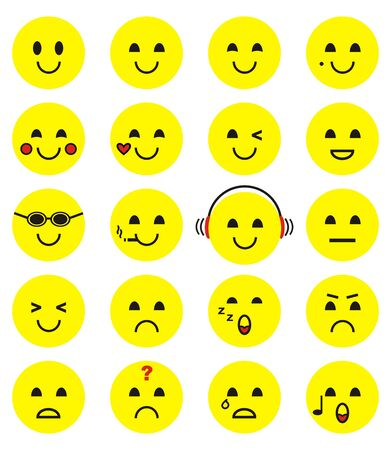 Group of smiley, yellow faces, vector icons