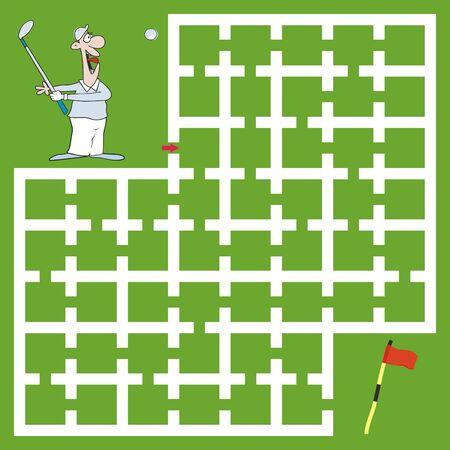 Labyrinth, leisure activity, golfer, vector illustration