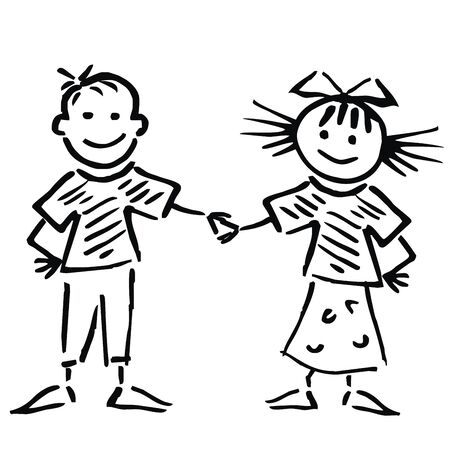 Two happy little children, funny little girl, funny vector illustration. Dancing pair. Hand drawing picture. Black sketch on white background. Standard-Bild - 131423774