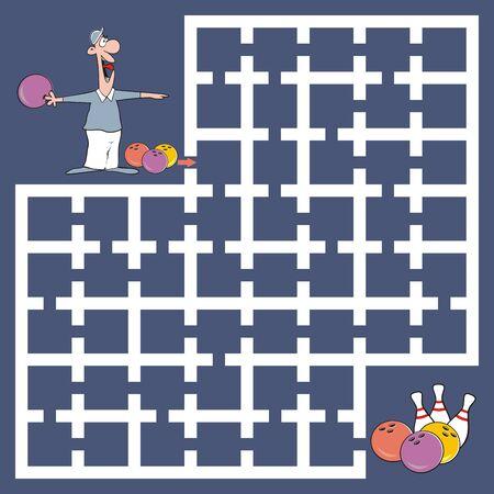 Labyrinth, leisure activity, bowling, vector illustration Illustration