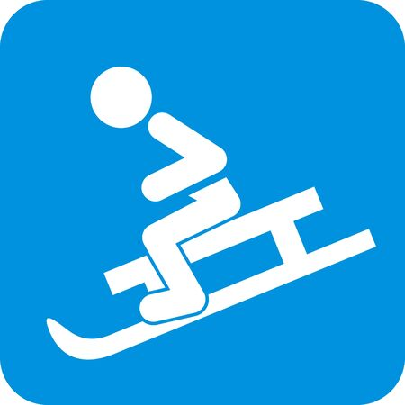 Toboggan Run, White Silhouette Of Sled With Person At Blue Frame, Vector Icon