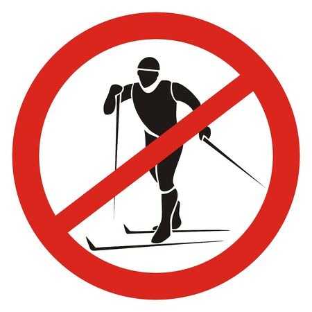 Ban Skiing, Black Silhouette of Man at Red Circle Frame, Vector Road Sign