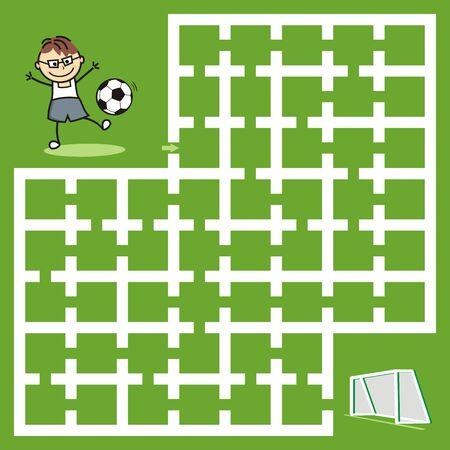 Labyrinth, leisure activity, football, vector illustration 向量圖像