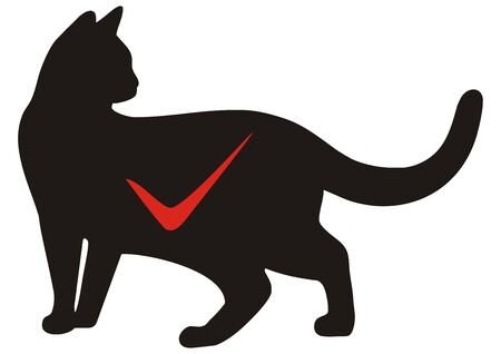 Cat accepted, black cat silhouette, vector illustration.