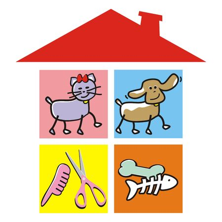 Pets, cat, dog, scissors, combs and bones at house. Isolated objects under red roof. Stock Illustratie
