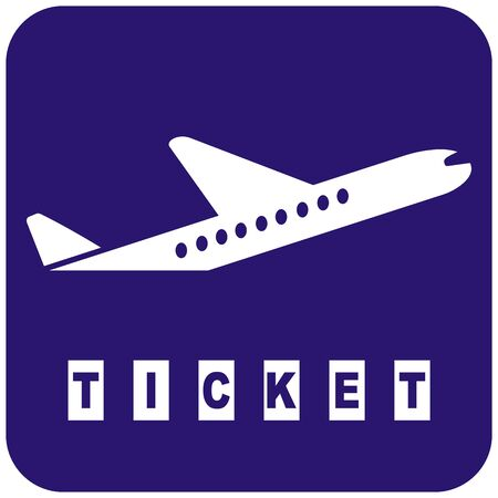 Airplane, ticket, web icon, airplane silhouette on blue background, eps.