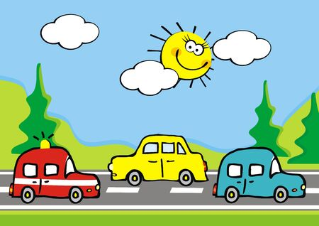 Landscape, group of cars on road and mountain and trees, vector illustration. At the background is blue sky and sun. Cute illustration for children.