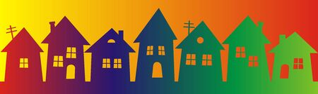 Rainbow town, decoration, multicolored illustration. Vector drawing.