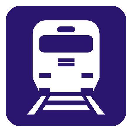 Train Platform, White Silhouette Of Locomotive On Blue Background, Vector Icon Illustration