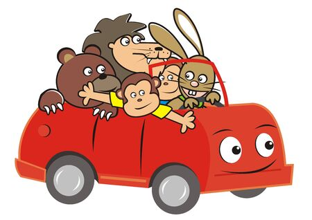 Vector Illustration Keywords: Bear, Lion, Monkeys and Hare are driving in the car. Cute illustration for children.