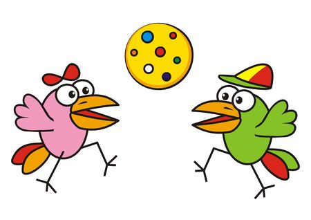 Two happy birds and yellow polka dot balloon, funny vector illustration
