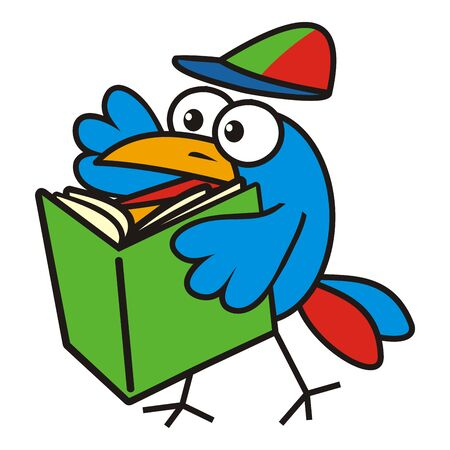 Happy blue bird with green book, funny vector illustration Illustration