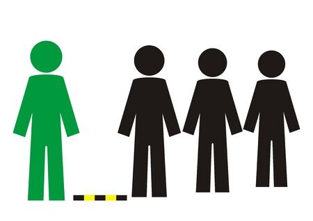 Discrete zone, people standing in row, standing in a queue, enter individually, vector icon Illustration
