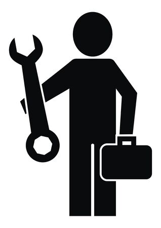 Plumber handyman black silhouette of man, vector icon
